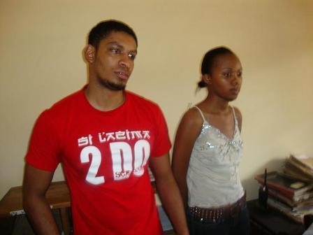 Miss Tanzania 2009 Miriam Gerald(kulia) na boyfriend Kennedy wakiwa