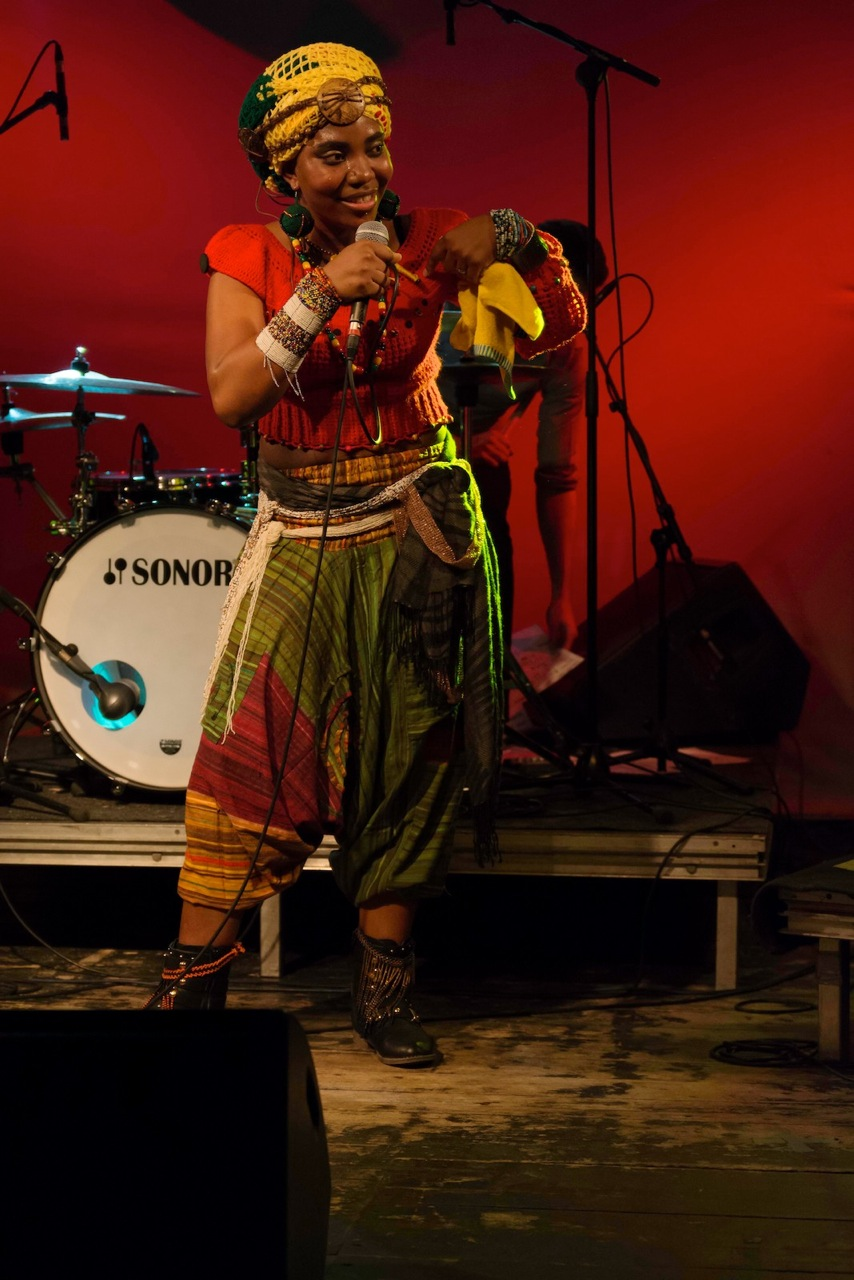 Yvonne Mwale performing during the album launch gig in Germany